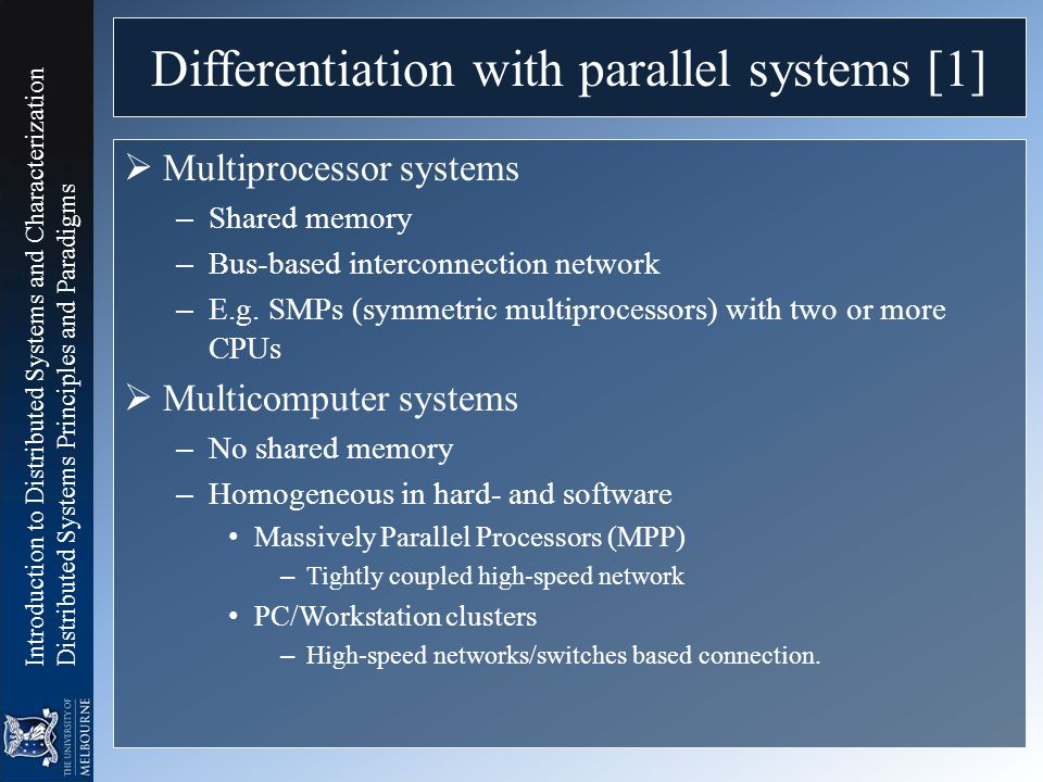 Differentiation with parallel systems [1]